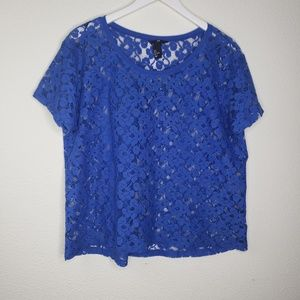 H & M Sheer Blue Floral Lace Short Sleeve Top